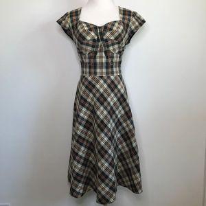 Eshakti Dress Plaid A-Line Fit Flare Pockets Retro